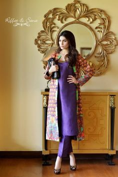 cigarette pants and long silk jacket--Sana Salman (Riffat & Sana)