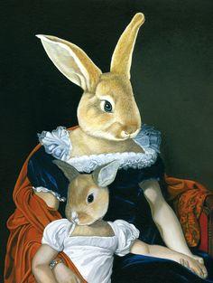 Chiara Cappelletti | Mamma coniglia e figlia Royal Animals, Rabbit Art, Bunny Art, Whimsical Art, Pet Clothes, Animal Paintings, Aesthetic Art, Pet Portraits, Art Pictures