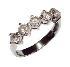 Stamped 925 Sterling Silver & Gem Set 5 Stone Ring - UK Size P