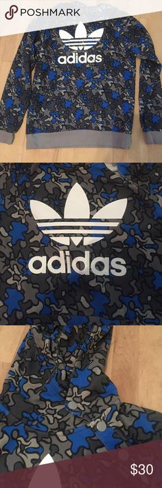 LIKE NEW! Adidas hoodie Blue black gray and dark gray print. EXCELLENT CONDITION ! Mens size large. Looks like it would fit a women's large as well. Really cool hoodie for chilly summer nights!⭐️ Adidas Tops