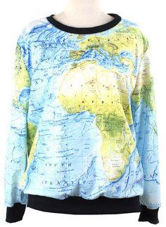 Blue Green Long Sleeve World Map Print Sweatshirt US$31.97