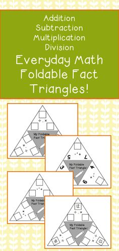 Fun foldable fact triangle students can use to practice fact families and writing out equations! Addition, subtraction, multiplication, and division.