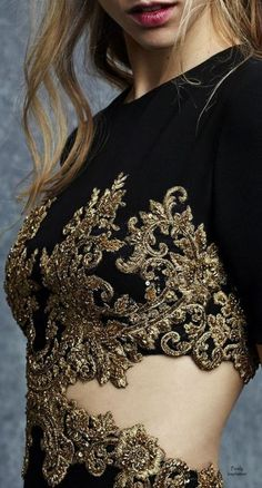 36 Ideas Embroidery Fashion Show Haute Couture Moda Fashion, Trendy Fashion, High Fashion, Womens Fashion, Couture Details, Fashion Details, Fashion Design, Embroidery Fashion, Embroidery Dress