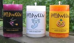 Essential oils ideas to use when making your own Halloween Aromatherapy Candles. Make long burning soy candles Pillar Candles, Candle Jars, Candle Holders, Halloween Trick Or Treat, Halloween Boo, Happy Halloween, Halloween Candles, Halloween Pumpkins, Lashes