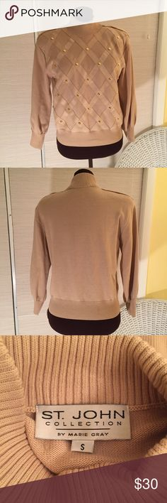 ST. JOHN Sweater Great condition. One tiny spot as seen in picture. The diagonal overlays seem to be faux suede. Has shoulder pads and raglan sleeves. MEASUREMENTS: Shoulder Width - 18-1/2 inches, Chest Side Seam to Side Seam - 19-1/2 inches, Back Length- 21 inches. St. John Sweaters Crew & Scoop Necks