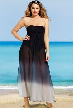 s4a Black Plus Size Bandeau Chiffon Dress Plus Size Swimwear