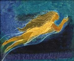 """""""Moonrise"""" by Susan Seddon Boulet, 1972 (Turning Point Gallery 2007) -- Floating through a rich purple and turquoise night sky, we find Susan's representation of a woman who each night brings us the moon. With long flowing hair and a sheer gown of moons and stars she offers this night a waxing crescent moon, symbolic of the goddess in youth."""