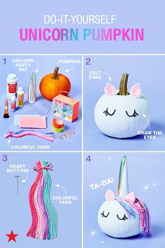 for unique pumpkin decorating ideas that don't require carving? DIY a one-of-a-kind, unicorn pumpkin! With a few arts & crafts staples, a pumpkin of your choice and a party hat available at Macy's, you can create a non-spooky pumpkin this season! Halloween 2018, Looks Halloween, Holidays Halloween, Halloween Crafts, Unicorn Halloween, Spooky Pumpkin, Pumpkin Crafts, Halloween Pumpkins, Pumpkin Carving
