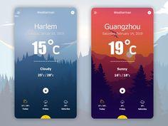 Weather App / Weatherman / UX / UI – Design is art Weather Kindergarten, Teaching Weather, Preschool Weather, Weather Crafts, Weather Science, Weather Activities, Mobile Ui Design, App Ui Design, Web Design