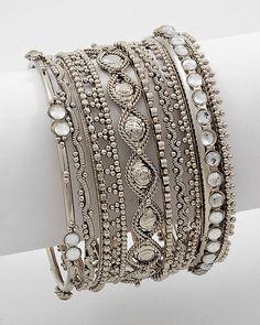 8 Piece Stackable Bracelet Antique Silver Tone