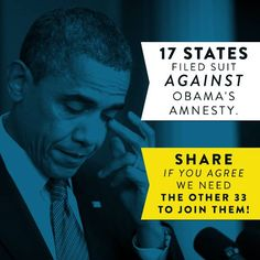Social media graphic for Secure America Now, showing the number of states that filed lawsuits against Obama's executive amnesty plan. With creative content and innovative digital strategy, our team at Harris Media is building winning campaigns across the nation. Find out how we can help your cause: www.harrismediallc.com