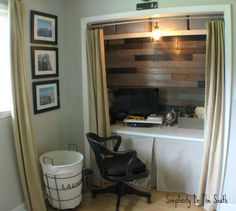 Closet office with plank walls