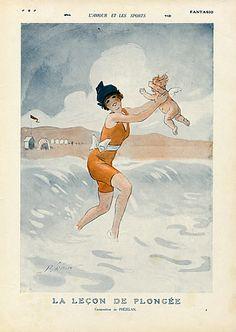 René Préjelan 1914 l'Amour et les Sports...La leçon de Plongée, Bathing Beauty, Angel