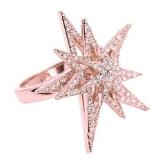 CC Skye Spinning Star Ring ($225) ❤ liked on Polyvore featuring jewelry, rings, rose gold, pave ring, star ring, cc skye jewelry, cc skye and cc skye ring