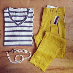ohnn [maio] calça de linho mostarda t-shirt cinto âncora