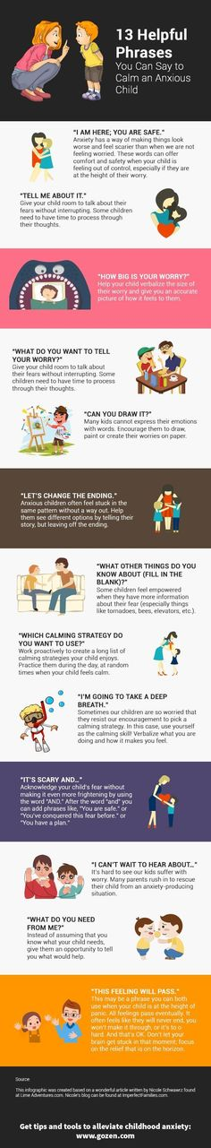 Anxious child? 15 phrases you can use to calm them down. Learn them in this infographic.