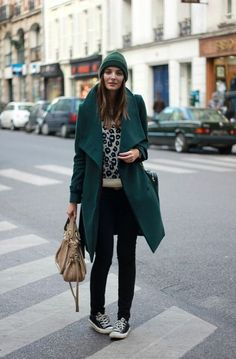 Shop this look on Lookastic:  http://lookastic.com/women/looks/beanie-coat-crew-neck-sweater-crossbody-bag-tote-bag-skinny-jeans-low-top-sneakers/5986  — Dark Green Beanie  — Teal Coat  — Beige Leopard Crew-neck Sweater  — Black Leather Crossbody Bag  — Tan Leather Tote Bag  — Black Skinny Jeans  — Black Low Top Sneakers