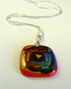 Hypnotize Me Fused Glass  Pendant With Silver by ArtBoxDesign, $19.00