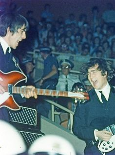 The Beatles during their first U.S. tour. (1964) Tumblr