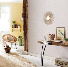 collection Sherwood - papier peint vinyle sur intissé liège beige référence 67881016 et uni jaune 67922020 - facile à poser