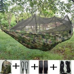 [Visit to Buy] Double Parachute Mosquito Net Hammock Chair Tourism Flyknit Hammock Rede Garden Swing Camping Hammock Sleeping Hamac Beach Patio, Diy Patio, Outdoor Gear, Indoor Outdoor, Outdoor Living, Portable Hammock, Camping Hammock, Mosquito Net, Gardens