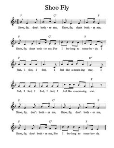 Free Sheet Music - Free Lead Sheet - Shoo Fly Don't Bother Me (Favorite Music Piano Sheet) Camp Songs, Uke Songs, Songs To Sing, Kindergarten Songs, Preschool Music, Teaching Music, Learning Guitar, Music Lessons For Kids, Music For Kids