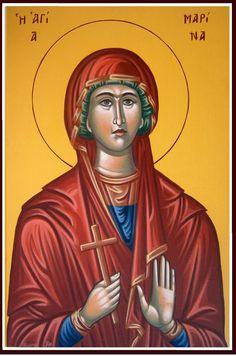 Marina by John Papadopoulos - July 17 St Margaret, Byzantine Icons, Historical Art, Religious Icons, Orthodox Icons, Sacred Art, July 17, Female, Saints