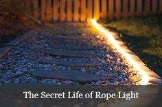 Rope light ideas including walkway lights, landscape lighting and deck lights. Use energy efficient LED rope light for your long term outdoor lighting projects! Christmas Lights Etc, Holiday Lights, Christmas 2019, Christmas Decorations, Xmas, Outdoor Deck Decorating, Outdoor Landscaping, Backyard Lighting, Outdoor Lighting