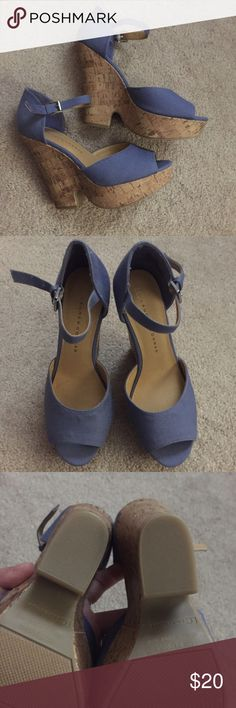 Lauren Conrad Wedges Brand new without box. These have never been worn as you can see from the soles of the shoes. Heel/wedges. Cornflower blue. Roughly 5 in wedges, but platform under the toe makes them comfortable. Bundle or make an offer. Lauren Conrad  Shoes Wedges