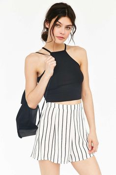 Truly Madly Deeply Cropped High Neck Tank Top - Urban Outfitters