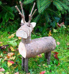 Holzfiguren für Herbst und Winter, Dekorationen aus Holzscheiten und mehr