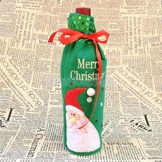 Christmas Green Sequins Santa Wine Bottle Cover Bag Pouch Holder Sack