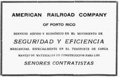 Redescubriendo a Puerto Rico: Publicidad - American Railroad Company of Porto Rico. Revista de Obras Publicas de Puerto Rico, agosto de 1926.