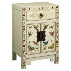 Handcrafted using traditional joinery, this charming side table features 1 drawer and 1 closed cabinet. Showcasing a hand-painted butterfly design and gold l...
