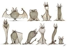 Many sketches of bats.Croquis+Photoshop.