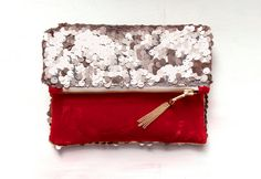 Rose Gold Pink Sequin and Ruby Red Velvet Clutch.
