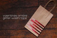 Valentines Ombre Glitter Washi Tape DIY - clever technique for making decorative tape that could be used similarly with pretty paper
