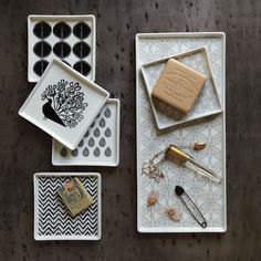 Porcelain soap dishes + tray