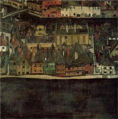 Egon Schiele, Krumau on the Molde, The Small City, 1912
