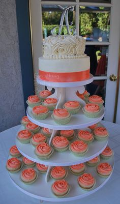 cupcake tiers wedding coral - Google Search