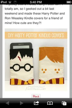 This is so cool Harry potter DIY kindle cases!!! Have to make these!!!