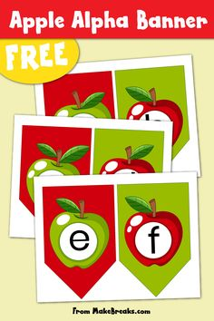 Free printable alphabet with apple design bunting for classroom use, party decor and more. Apple alphabet letter to print and make banners for fall :)