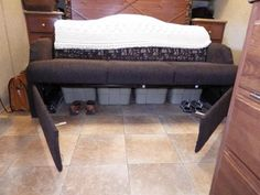 RV Sofa Bed Storage Mod: could do this in the old 5th wheel