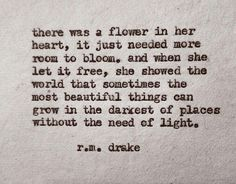 Sometimes the most beautiful things can grow in the darkness.  I'm just trying to grow flowers over here
