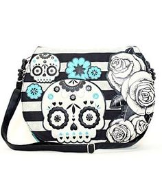 I found 'SUGAR SKULL TURQUOISE ROSE CROSS BODY BAG' on Wish, check it out!