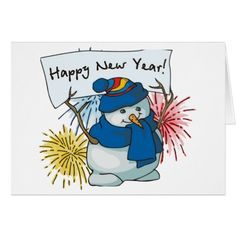 happy new year snowman card #newyear #cards or #postage