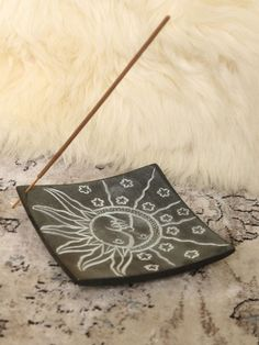 Enhance the aroma of your room with the Sun & Moon Incense Holder. This square stone holder features half a sun, and half a moon engraved in the center with various holes drilled in to hold incense sticks. Diy Incense Holder, Ceramic Incense Holder, Diy Clay, Clay Crafts, Insence Holder, Gypsy Warrior, Incense Burner, Ceramic Clay, Sun Moon
