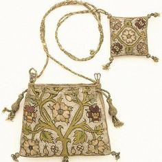 Purse and pincushion, linen with silk and silver thread embroidery, England, 1600-1625