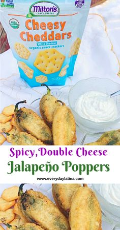 Jalapeño peppers stuffed with cheese and covered with a crunchy coating made with Milton's Cheesy Cheddars. So spicy and delicious! #jalapeñopoppers #chilescapeados #jalapeñorecipes Healthy Mexican Recipes, Snack Recipes, Snacks, Jalapeno Poppers, Stuffed Jalapeno Peppers, Chile, Jalapeno Recipes, Melted Cheese, Best Appetizers