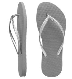 Slim Crystal Grey/Silver. Put some sparkle in your step! Grey slim Havaianas with metallic skinny straps and a dazzling Swarovski crystal embellishment. Made from our secret Brazilian rubber formula. Shine on year round!